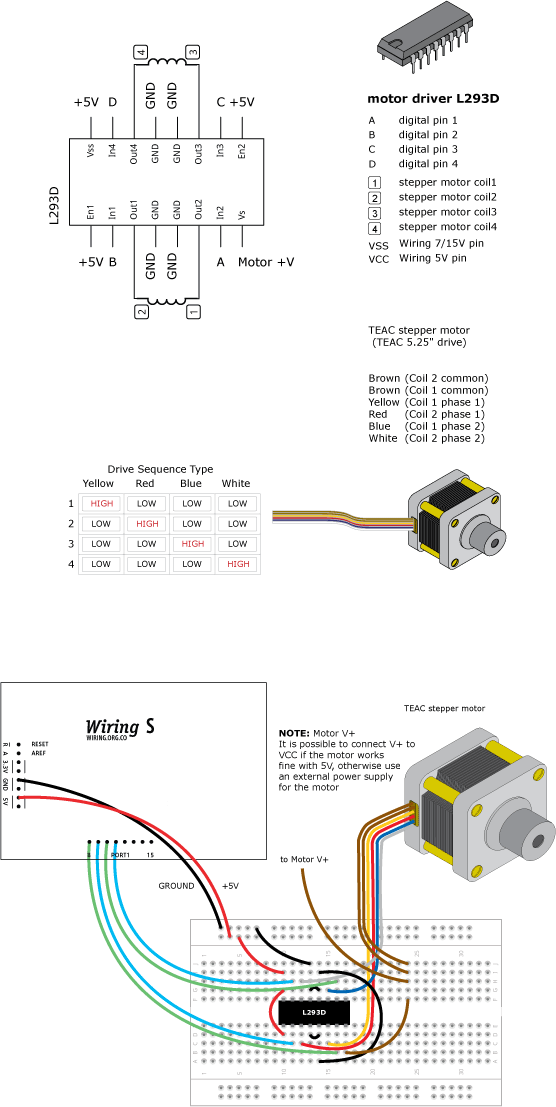how to drive a 6 wire stepper motor