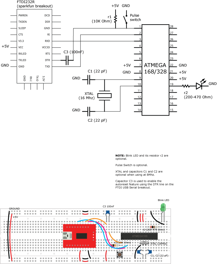 using an atmega168  328 and wiring wiring